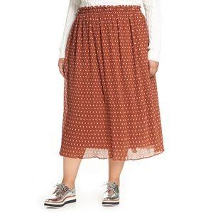 NWT Halogen X Atlantic-Pacific Crinkle Midi Skirt